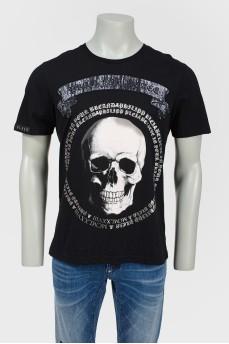 Черная футболка мужская с черепом