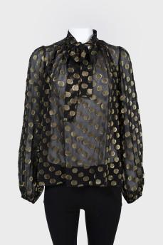 Прозрачная блуза с бантом с биркой