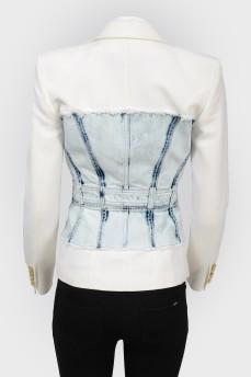 Приталенный жакет с джинсовой вставкой с биркой