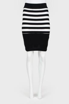 Черно-белая юбка в полоску с биркой