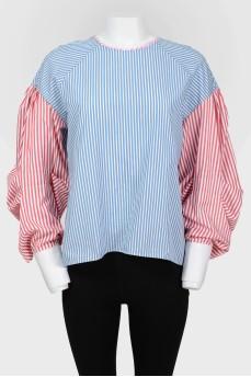 Свободная блузка с широкими рукавами в полоску