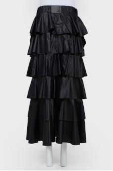 Многоярусная прямая юбка в пол