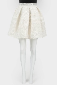 Кружевная мини-юбка с карманами