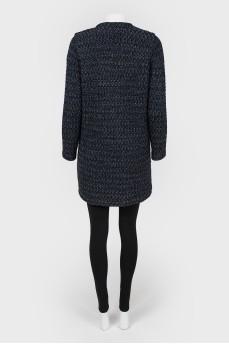 Вязаное пальто с накладными карманами с биркой