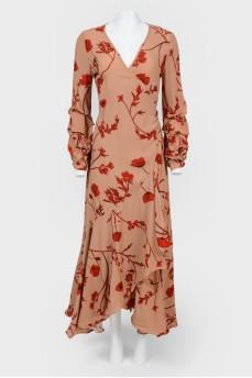 Платье на запах с цветочным принтом с биркой