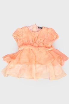 Детское персиковое платье с коротким рукавом