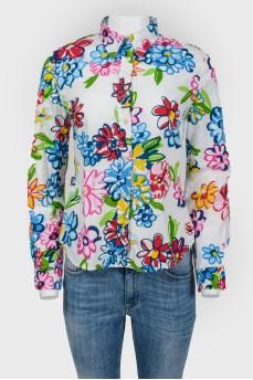 Женская рубашка с ярким рисунком