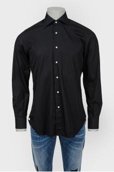 Рубашка мужская черная с белыми пуговицами