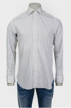 Мужская рубашка белая в черную полоску