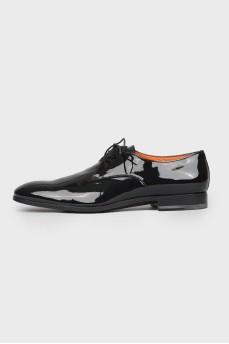 Туфли мужские лакированные кожаные  со шнурками