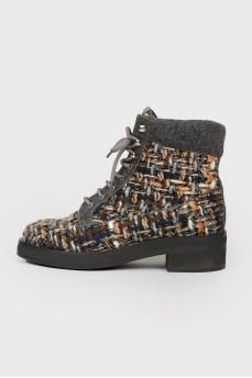 Твидовые ботинки на низком ходу