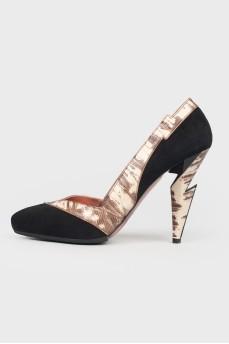 Винтажные туфли со вставками под змеиную кожу
