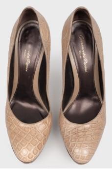 Винтажные туфли из кожи крокодила