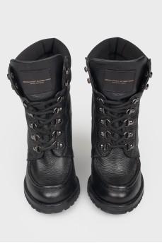 Кожаные ботильоны на шнуровке