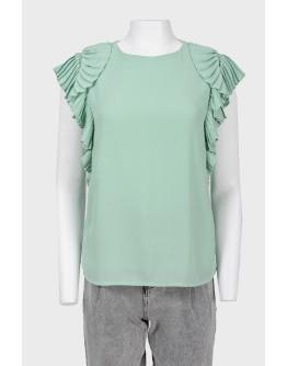 Блуза без рукавов с оборками