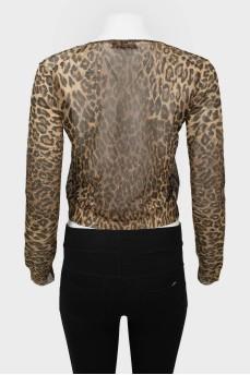 Винтажный леопардовый топ с длинным рукавом