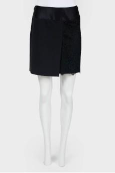Винтажная мини-юбка с кружевом и разрезами