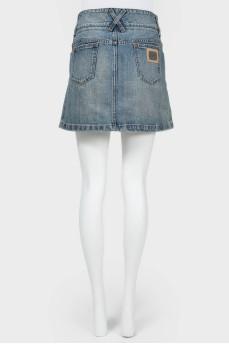 Винтажная джинсовая мини-юбка
