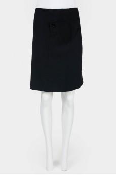 Винтажная прямая юбка-миди с пуговицами