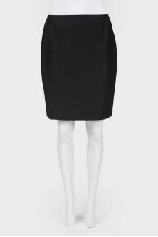 Винтажная прямая юбка с разрезом