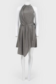 Асимметричное платье с завязками