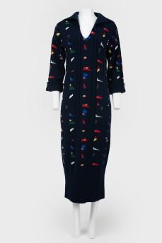 Платье облегающее вязаное с карманами