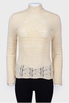 Винтажный вязаный свитер с застежкой-молнией
