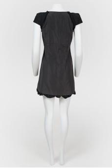 Винтажное мини-платье с фигурной горловиной