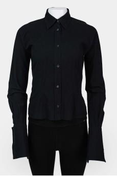 Винтажная блуза-рубашка с широкими манжетами