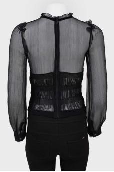 Винтажная прозрачная блуза с цветком на талии