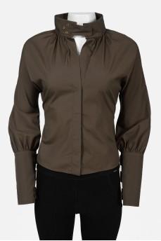 Винтажная блуза с воротником-стойкой