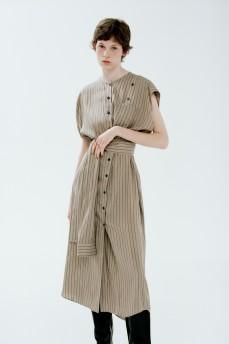 Платье-рубашка на пуговицах с поясом-рукавом
