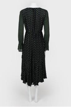 Платье с асимметричным принтом на завязках