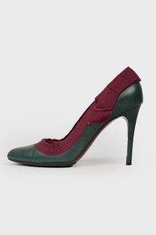 Туфли с текстильной окантовкой и бантом