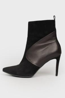 Остроносые ботинки с кожаными вставками