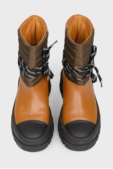 Сапоги черно-коричневые с тканевой вставкой