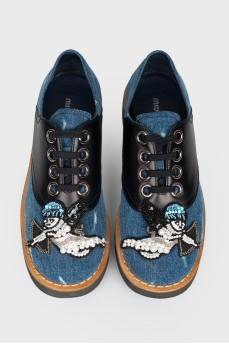 Туфли джинсовые с кожаными вставками