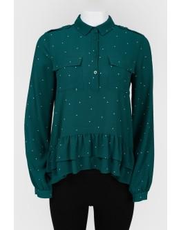Блуза с планкой на пуговицах и оборками