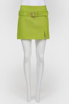 Винтажная мини-юбка с поясом с разрезом