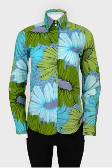 Винтажная рубашка с тропическим принтом