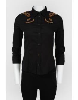 Винтажная приталенная рубашка с пайетками