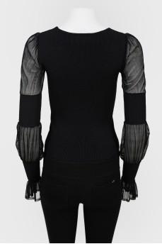 Винтажная блуза без застежек с полупрозрачными рукавами