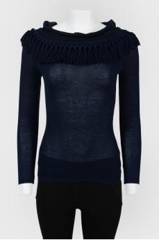 Винтажный облегающий свитер с бахромой