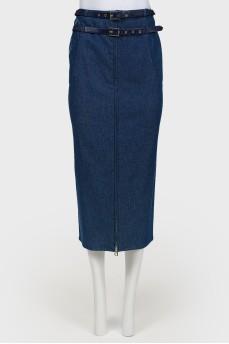 Винтажная джинсовая юбка-миди на молнии
