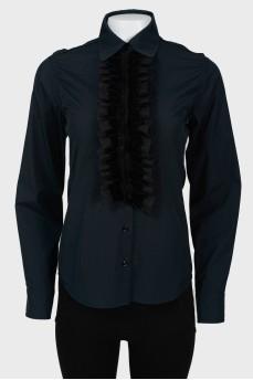 Винтажная рубашка-блузка с черной манишкой