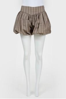 Короткие шорты-юбка без пояса