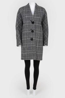 Пальто однобортное без воротника