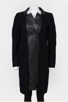 Шерстяное пальто со вставками из эко-кожи