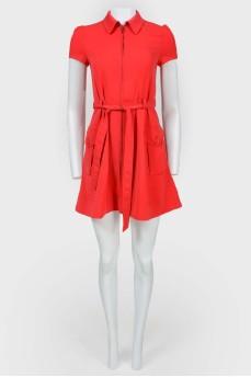 Платье-рубашка на молнии с поясом
