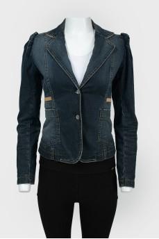 Джинсовый пиджак приталенный с поясом